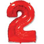 Шар (40''/102 см) Цифра, 2, Красный, 1 шт.